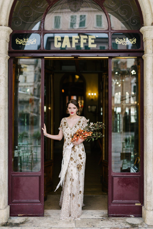 Art Deco Wedding Inspiration Italian Cafe 01