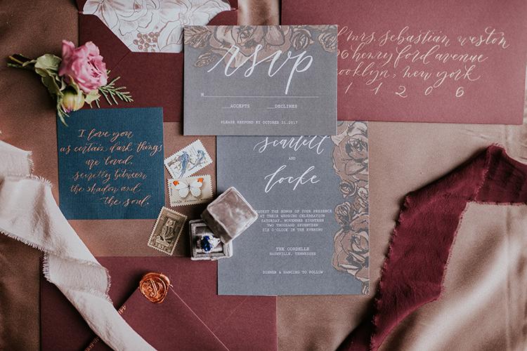 modern and moody wedding invitations - https://ruffledblog.com/artist-inspired-wedding-ideas-with-oxblood-and-navy