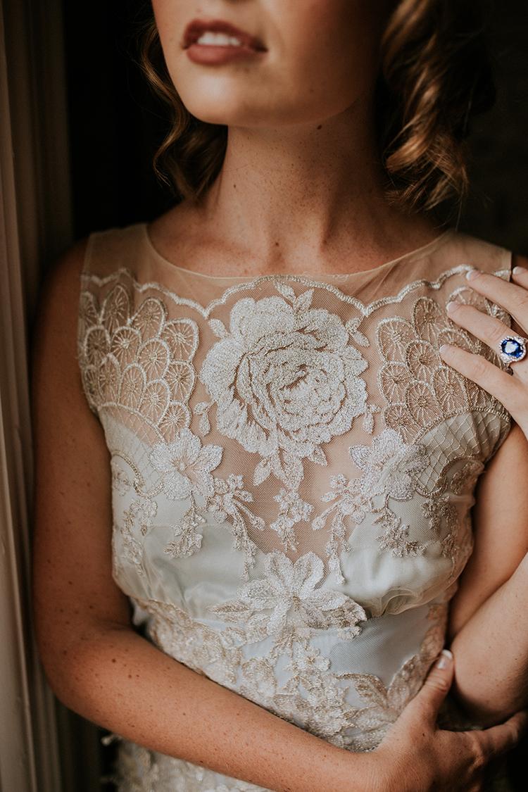 lace Claire Pettibone wedding dresses - https://ruffledblog.com/artist-inspired-wedding-ideas-with-oxblood-and-navy