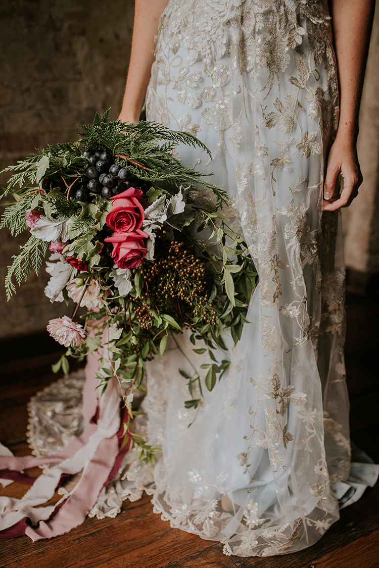 eclectic wild wedding bouquets - https://ruffledblog.com/artist-inspired-wedding-ideas-with-oxblood-and-navy