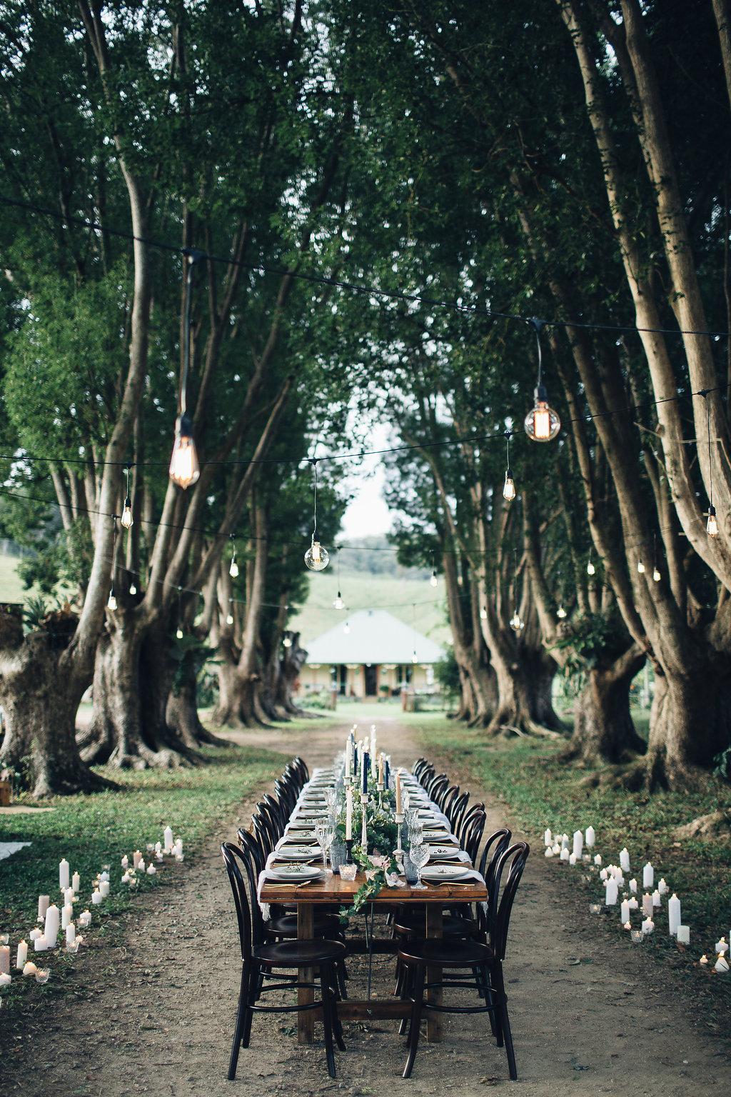 outdoor reception - photo by Figtree Wedding Photography https://ruffledblog.com/australian-bohemian-wedding-inspiration