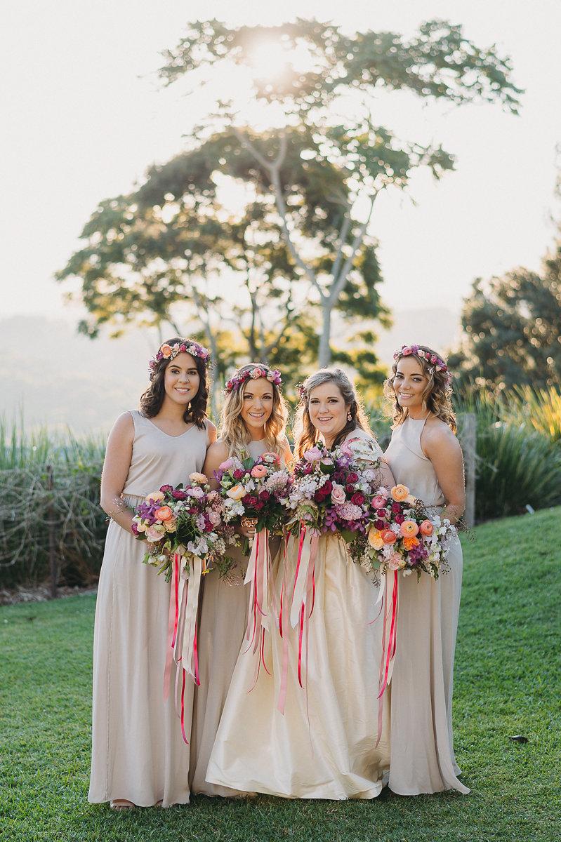 boho bridesmaids - photo by Bushturkey Studio https://ruffledblog.com/australian-garden-wedding-with-a-patterned-wedding-dress