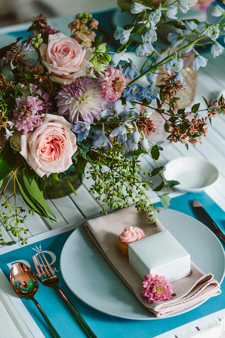 colorful place settings - photo by Beck Rocchi https://ruffledblog.com/balloon-filled-party-inspiration-at-a-pandora-brunch