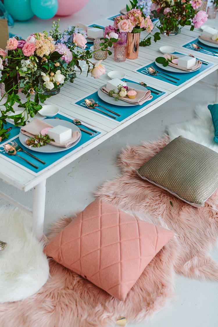 pillow seating wedding ideas - photo by Beck Rocchi https://ruffledblog.com/balloon-filled-party-inspiration-at-a-pandora-brunch