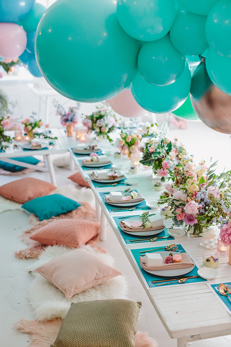 colorful and whimsical wedding ideas - photo by Beck Rocchi https://ruffledblog.com/balloon-filled-party-inspiration-at-a-pandora-brunch
