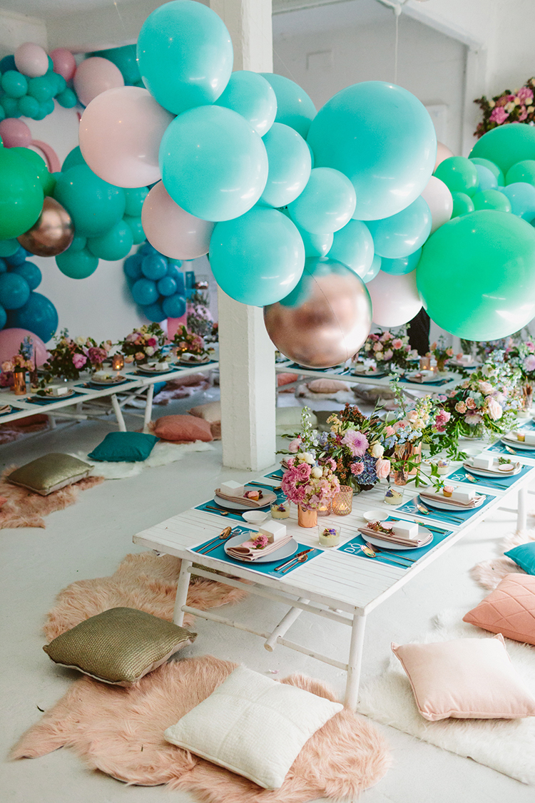 whimsical party inspiration - photo by Beck Rocchi https://ruffledblog.com/balloon-filled-party-inspiration-at-a-pandora-brunch