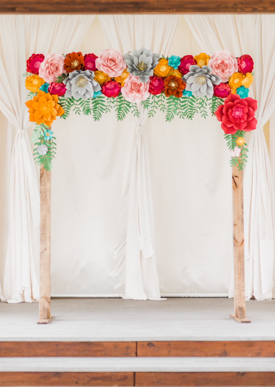Fun And Colorful Wedding Inspiration With Paper Flowers