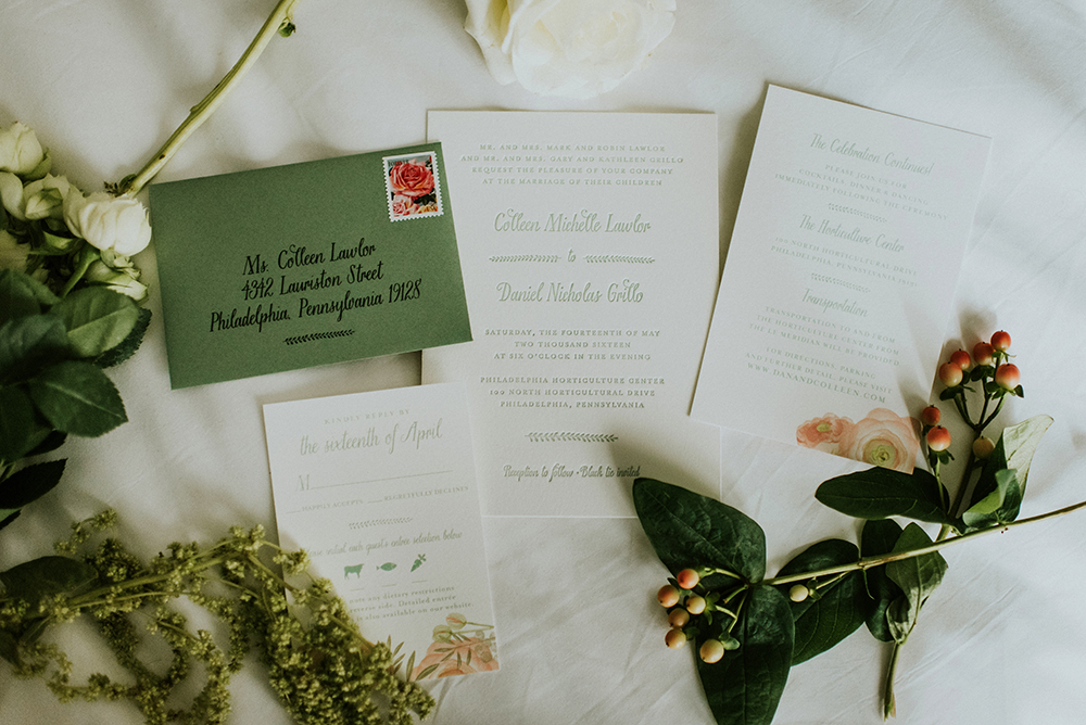 wedding invitations - photo by M2 Photography https://ruffledblog.com/black-tie-philadelphia-wedding-with-a-boho-twist