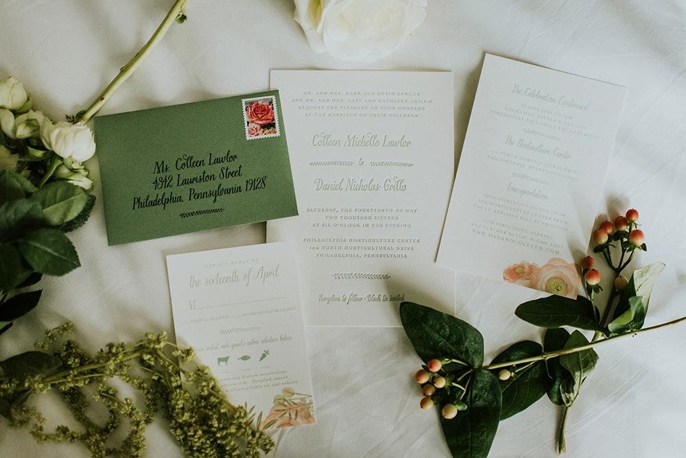 wedding invitations - photo by M2 Photography http://ruffledblog.com/black-tie-philadelphia-wedding-with-a-boho-twist