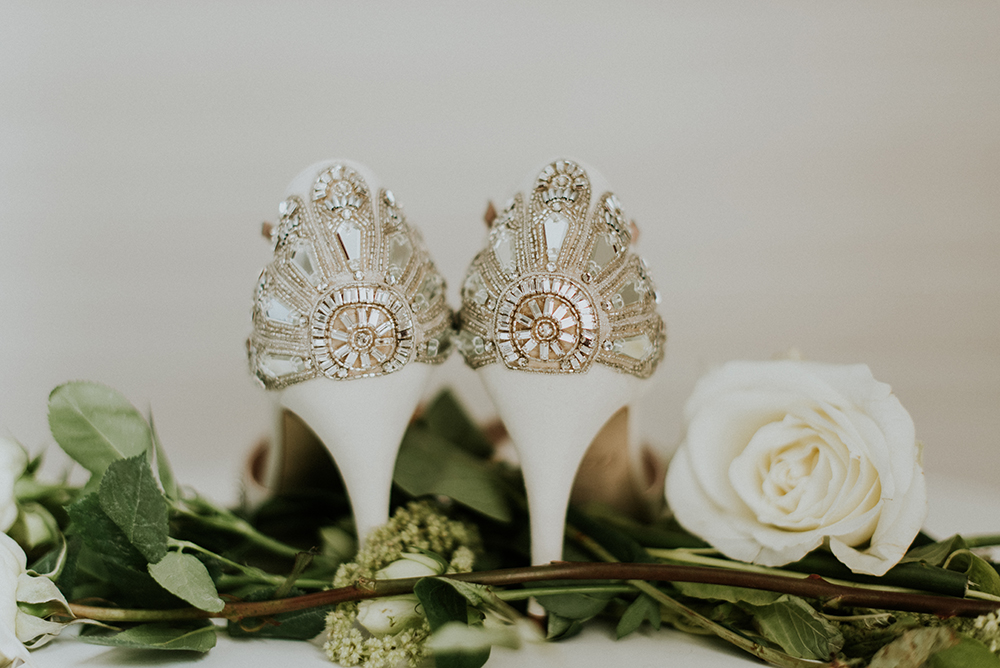 glam wedding shoes - photo by M2 Photography http://ruffledblog.com/black-tie-philadelphia-wedding-with-a-boho-twist