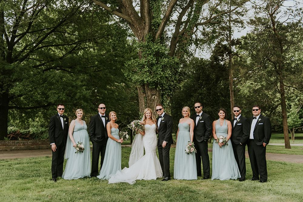 wedding parties - photo by M2 Photography http://ruffledblog.com/black-tie-philadelphia-wedding-with-a-boho-twist