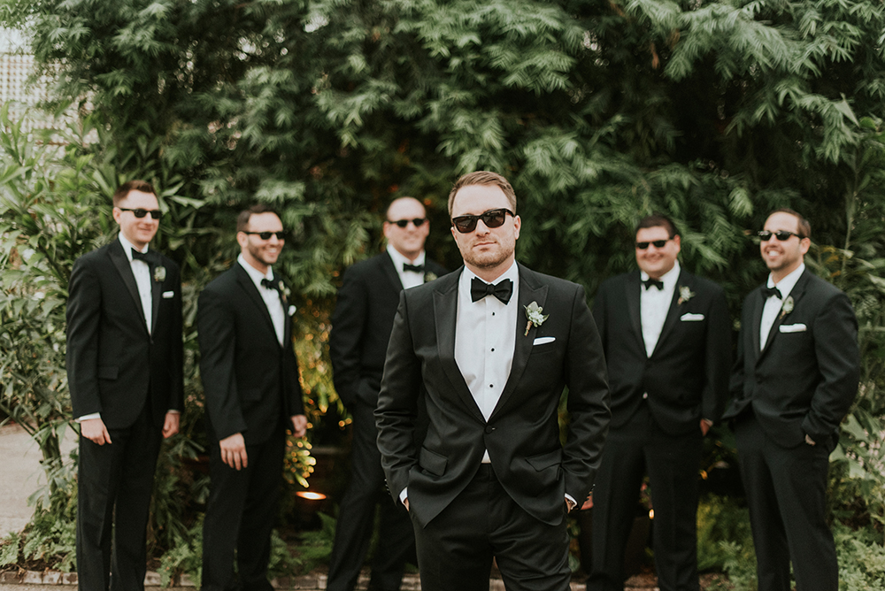 groomsmen style - photo by M2 Photography https://ruffledblog.com/black-tie-philadelphia-wedding-with-a-boho-twist