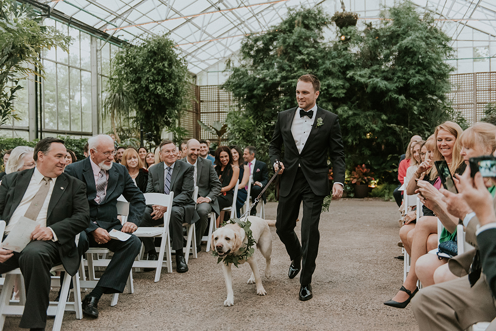 wedding processionals with pets - photo by M2 Photography https://ruffledblog.com/black-tie-philadelphia-wedding-with-a-boho-twist
