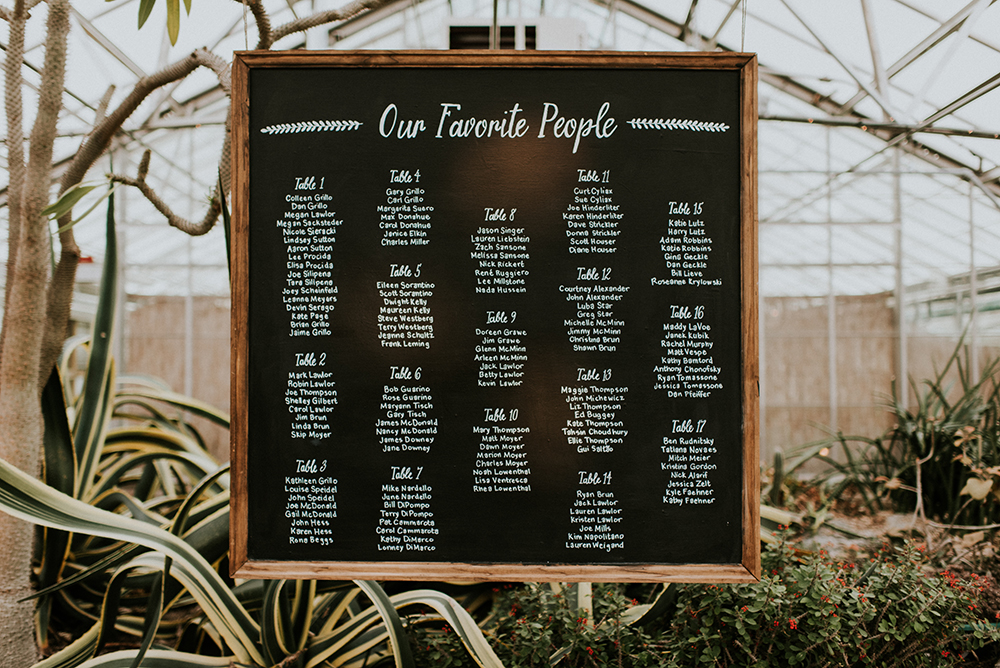 seating charts - photo by M2 Photography https://ruffledblog.com/black-tie-philadelphia-wedding-with-a-boho-twist