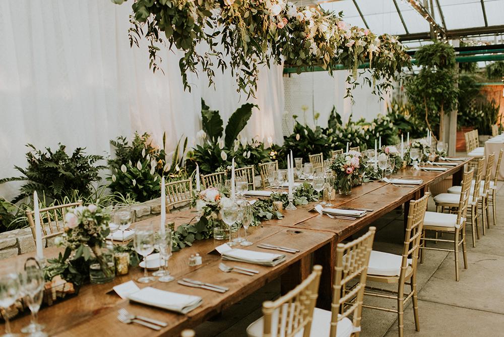 wedding tablescapes - photo by M2 Photography http://ruffledblog.com/black-tie-philadelphia-wedding-with-a-boho-twist