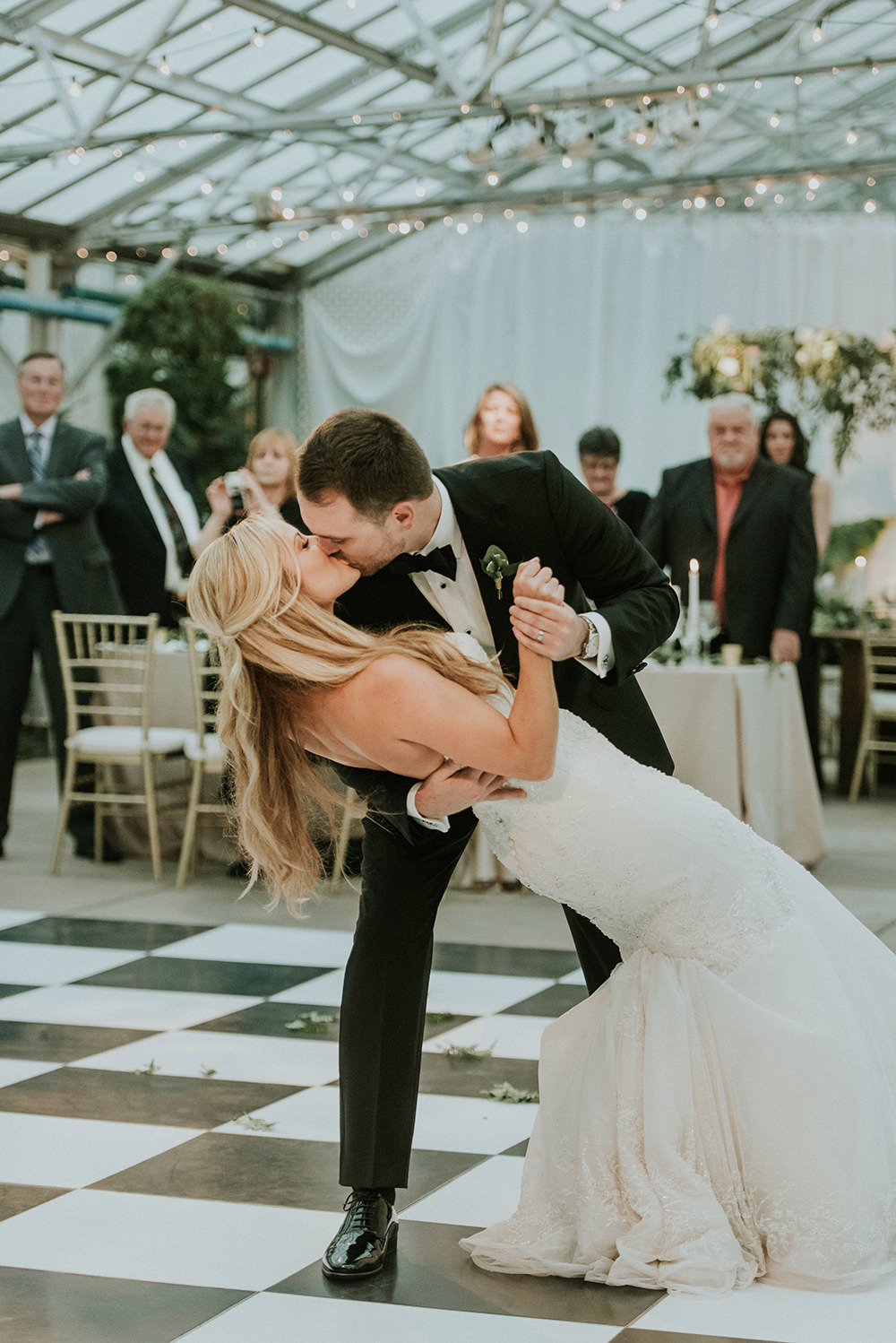 first dance - photo by M2 Photography https://ruffledblog.com/black-tie-philadelphia-wedding-with-a-boho-twist
