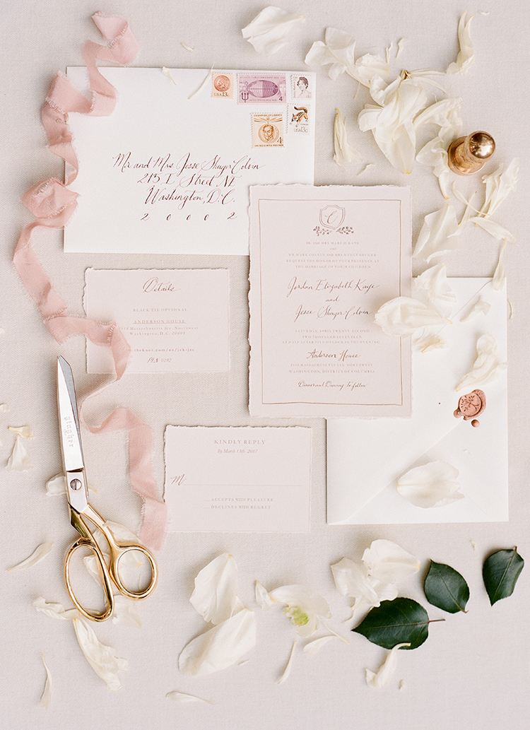 soft pink wedding invitations - photo by Lisa Blume Photography http://ruffledblog.com/black-tie-washington-dc-wedding-with-a-floral-wall