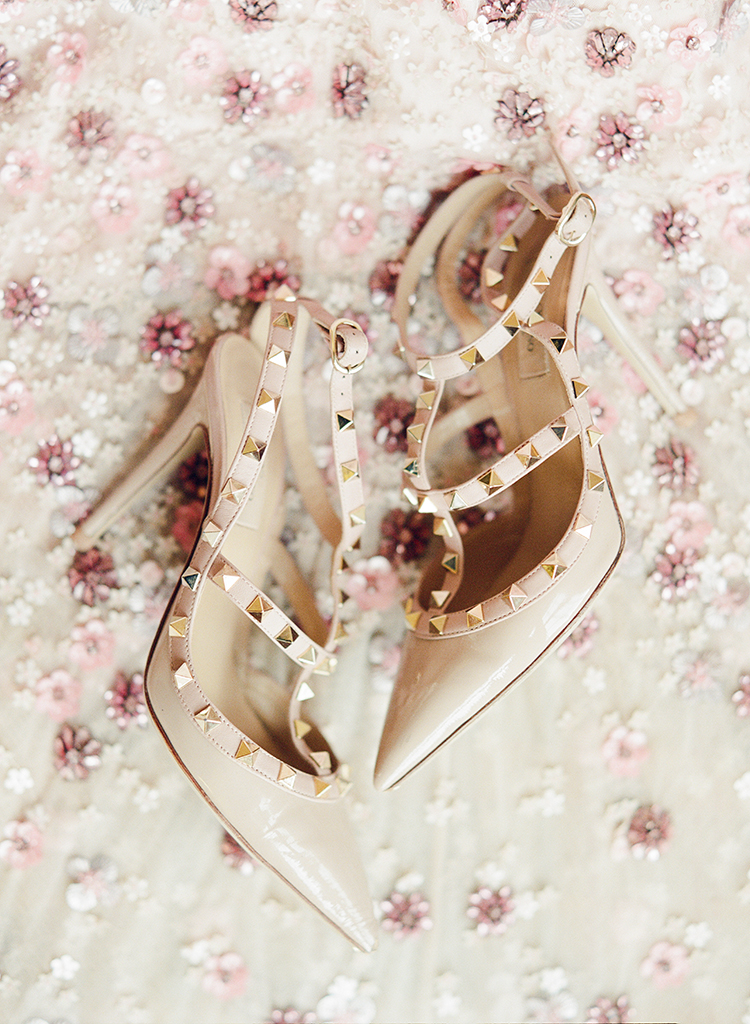 Valentino wedding shoes - photo by Lisa Blume Photography http://ruffledblog.com/black-tie-washington-dc-wedding-with-a-floral-wall