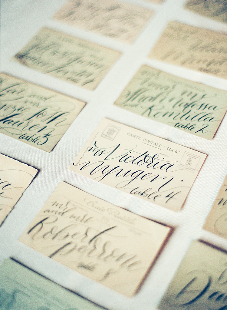 vintage postcard name cards - photo by Lisa Blume Photography http://ruffledblog.com/black-tie-washington-dc-wedding-with-a-floral-wall