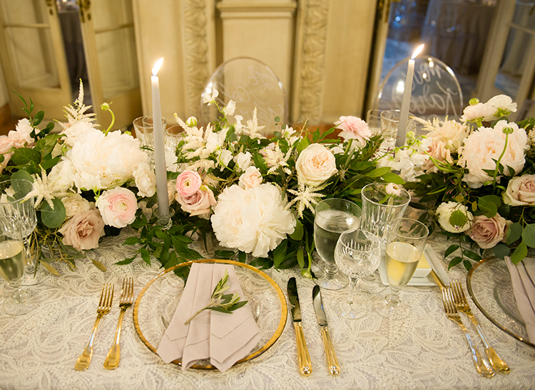 gold and pink weddings - photo by Lisa Blume Photography http://ruffledblog.com/black-tie-washington-dc-wedding-with-a-floral-wall