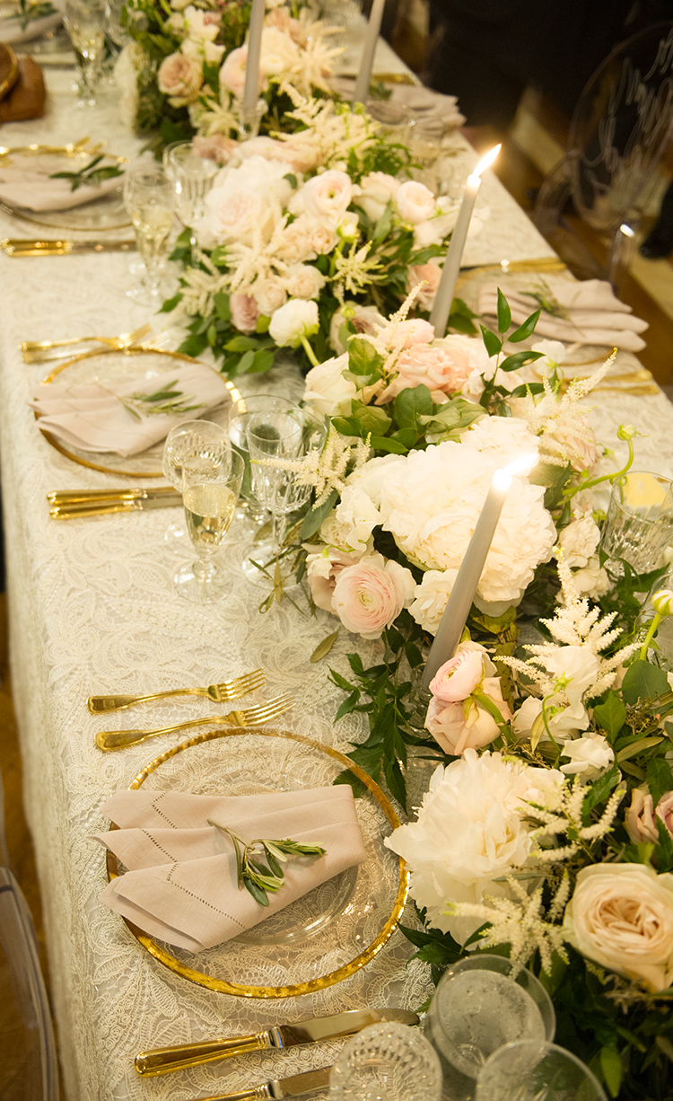 pink and gold tablescape ideas - photo by Lisa Blume Photography http://ruffledblog.com/black-tie-washington-dc-wedding-with-a-floral-wall