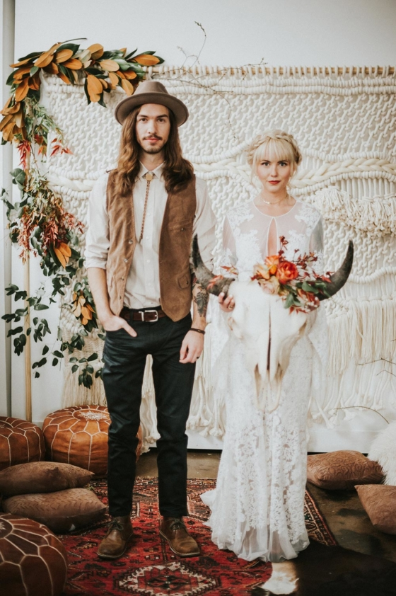 Bohemian Elopement Inspiration with Oxblood and Persimmon Hues