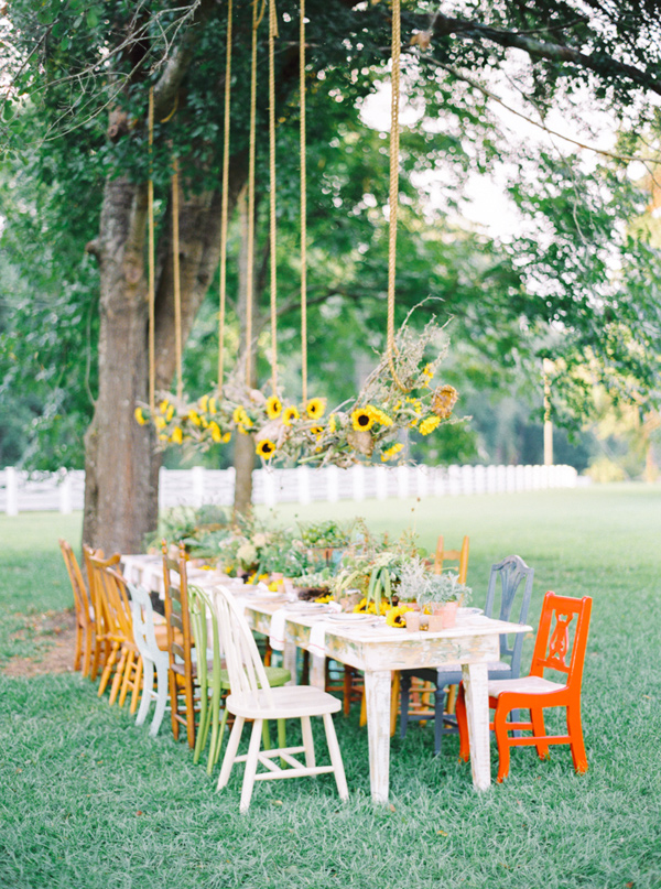 sunflower display - photo by Pasha Belman Photography https://ruffledblog.com/bohemian-styled-southern-wedding-inspiration