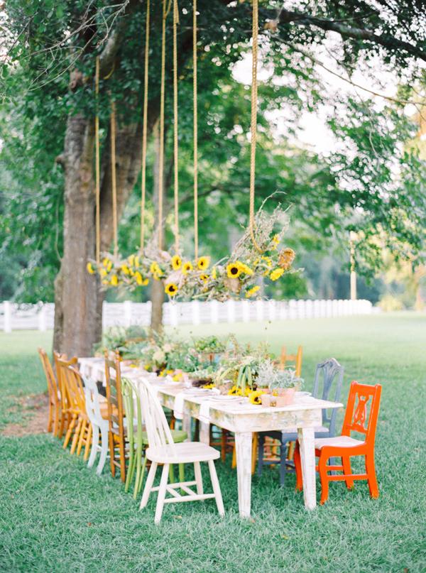 sunflower display - photo by Pasha Belman Photography https://ruffledblog.com/bohemian-styled-southern-wedding-inspiration