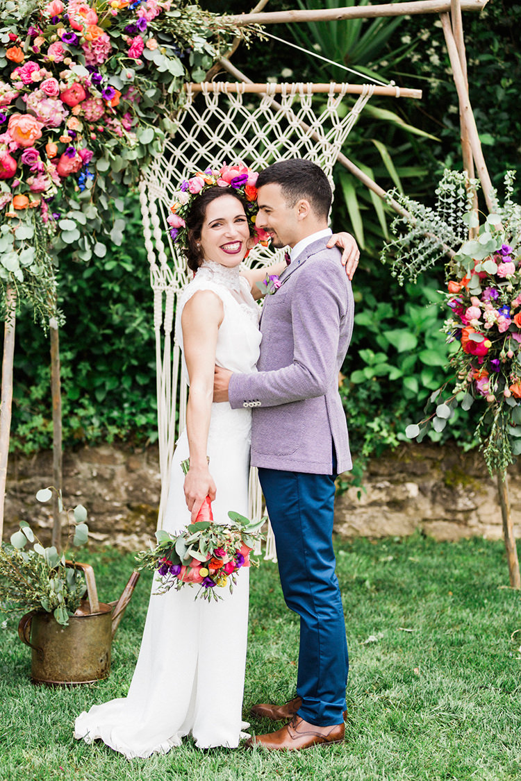Bohemian Wedding in Portugal with Bright Flowers Everywhere - photo by Passionate https://ruffledblog.com/bohemian-wedding-in-portugal-with-bright-flowers-everywhere