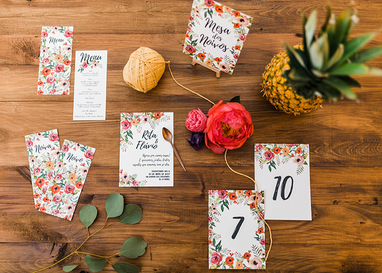 colorful floral wedding stationery - photo by Passionate https://ruffledblog.com/bohemian-wedding-in-portugal-with-bright-flowers-everywhere