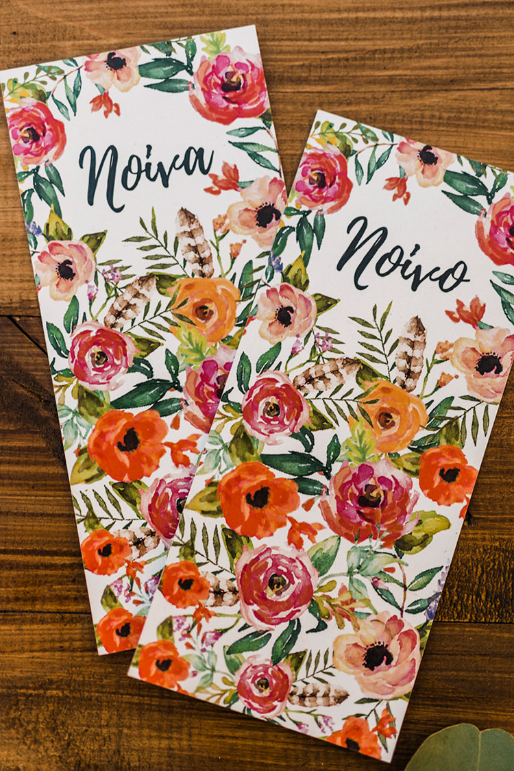 floral wedding programs - photo by Passionate http://ruffledblog.com/bohemian-wedding-in-portugal-with-bright-flowers-everywhere