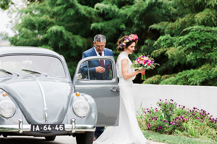 bridal processionals - photo by Passionate http://ruffledblog.com/bohemian-wedding-in-portugal-with-bright-flowers-everywhere
