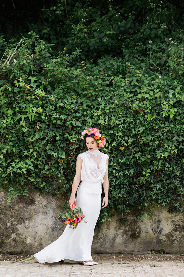 bohemian bridal inspiration - photo by Passionate https://ruffledblog.com/bohemian-wedding-in-portugal-with-bright-flowers-everywhere