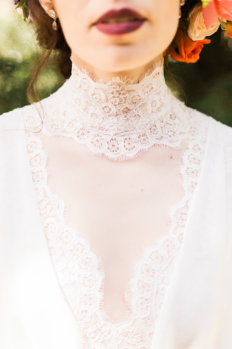 Victorian inspired wedding gowns - photo by Passionate http://ruffledblog.com/bohemian-wedding-in-portugal-with-bright-flowers-everywhere