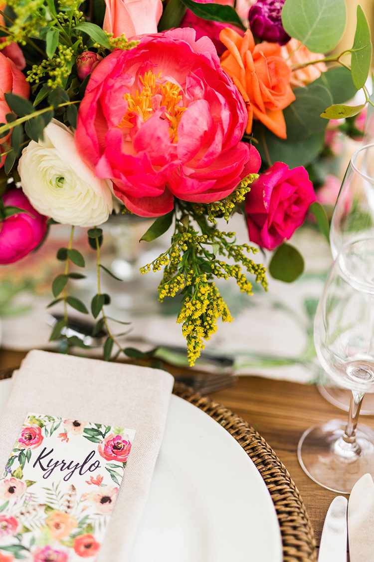 coral charm peony centerpieces - photo by Passionate https://ruffledblog.com/bohemian-wedding-in-portugal-with-bright-flowers-everywhere