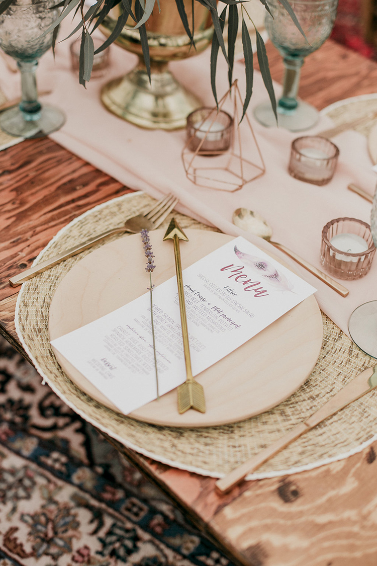 boho wedding tablescapes - photo by Sarah White Photography https://ruffledblog.com/boho-bridal-shower-inspiration-for-your-bride-tribe