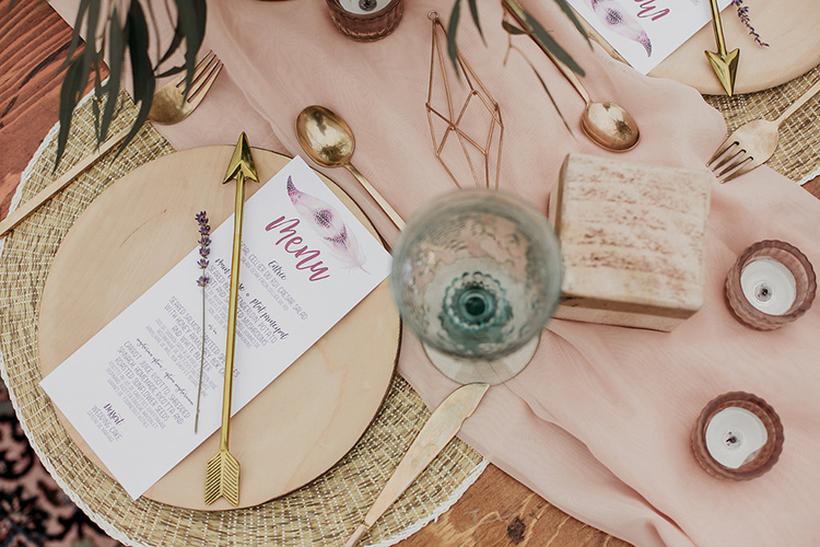 wedding place settings - photo by Sarah White Photography https://ruffledblog.com/boho-bridal-shower-inspiration-for-your-bride-tribe