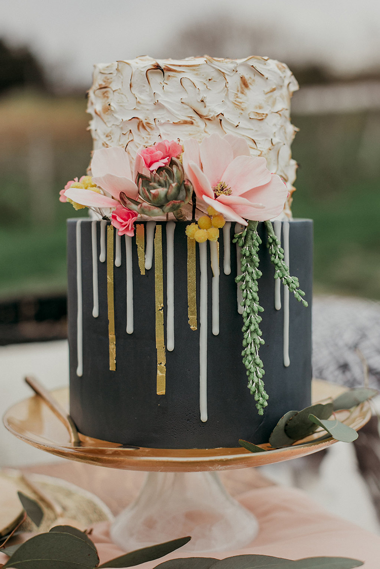 romantic drip cakes - photo by Sarah White Photography https://ruffledblog.com/boho-bridal-shower-inspiration-for-your-bride-tribe