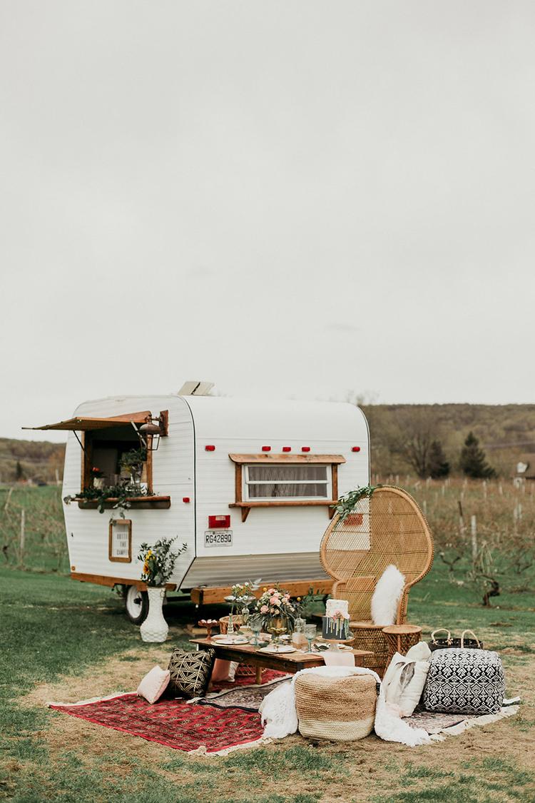 bohemian camper weddings - photo by Sarah White Photography http://ruffledblog.com/boho-bridal-shower-inspiration-for-your-bride-tribe