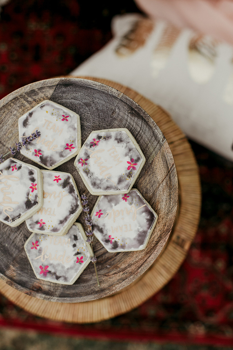 romantic geometric wedding cookies - photo by Sarah White Photography https://ruffledblog.com/boho-bridal-shower-inspiration-for-your-bride-tribe