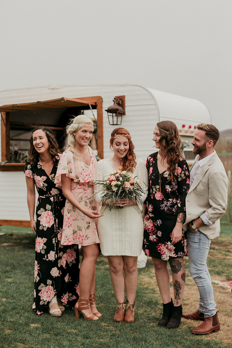 bride and her bride tribe - photo by Sarah White Photography https://ruffledblog.com/boho-bridal-shower-inspiration-for-your-bride-tribe