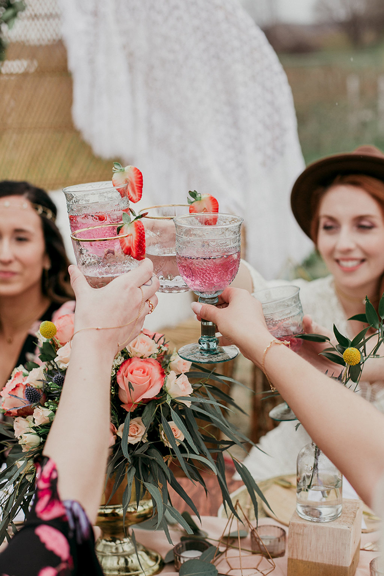 wedding toasts - photo by Sarah White Photography https://ruffledblog.com/boho-bridal-shower-inspiration-for-your-bride-tribe