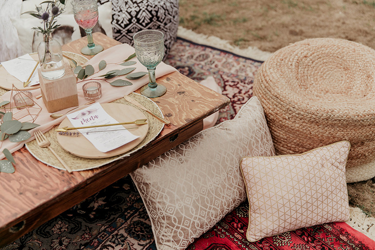 boho wedding seating - photo by Sarah White Photography https://ruffledblog.com/boho-bridal-shower-inspiration-for-your-bride-tribe