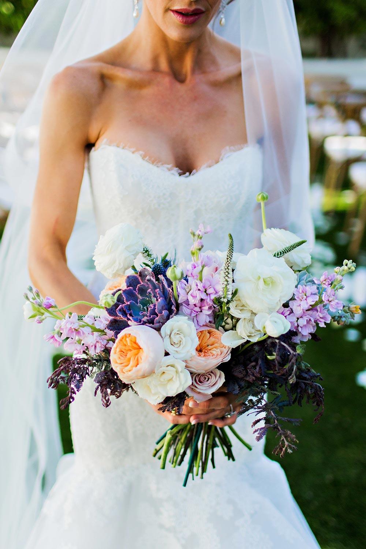 lavender and peach bridal bouquet