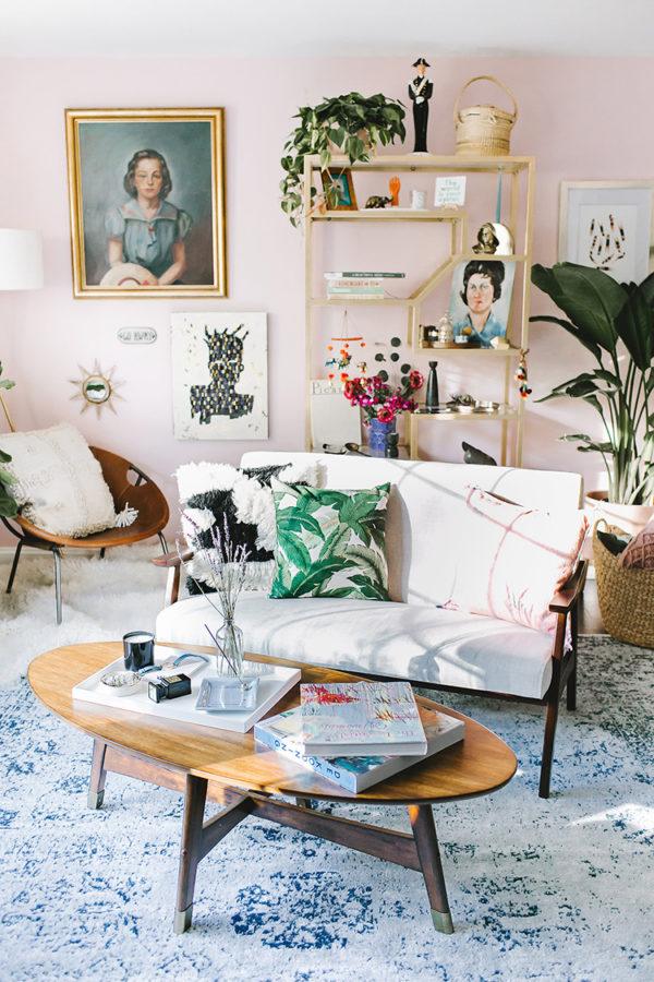 Jump Inside This Millennial Pink Living Room with Wayfair