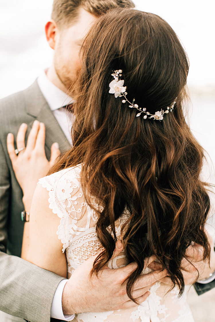 romantic bohemian wedding hair - photo by Jenna Bechtholt Photography http://ruffledblog.com/boho-pacific-northwest-forest-wedding-with-king-protea