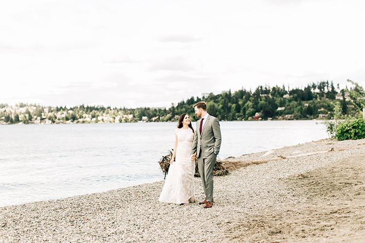 rocky beach wedding inspiration - photo by Jenna Bechtholt Photography https://ruffledblog.com/boho-pacific-northwest-forest-wedding-with-king-protea
