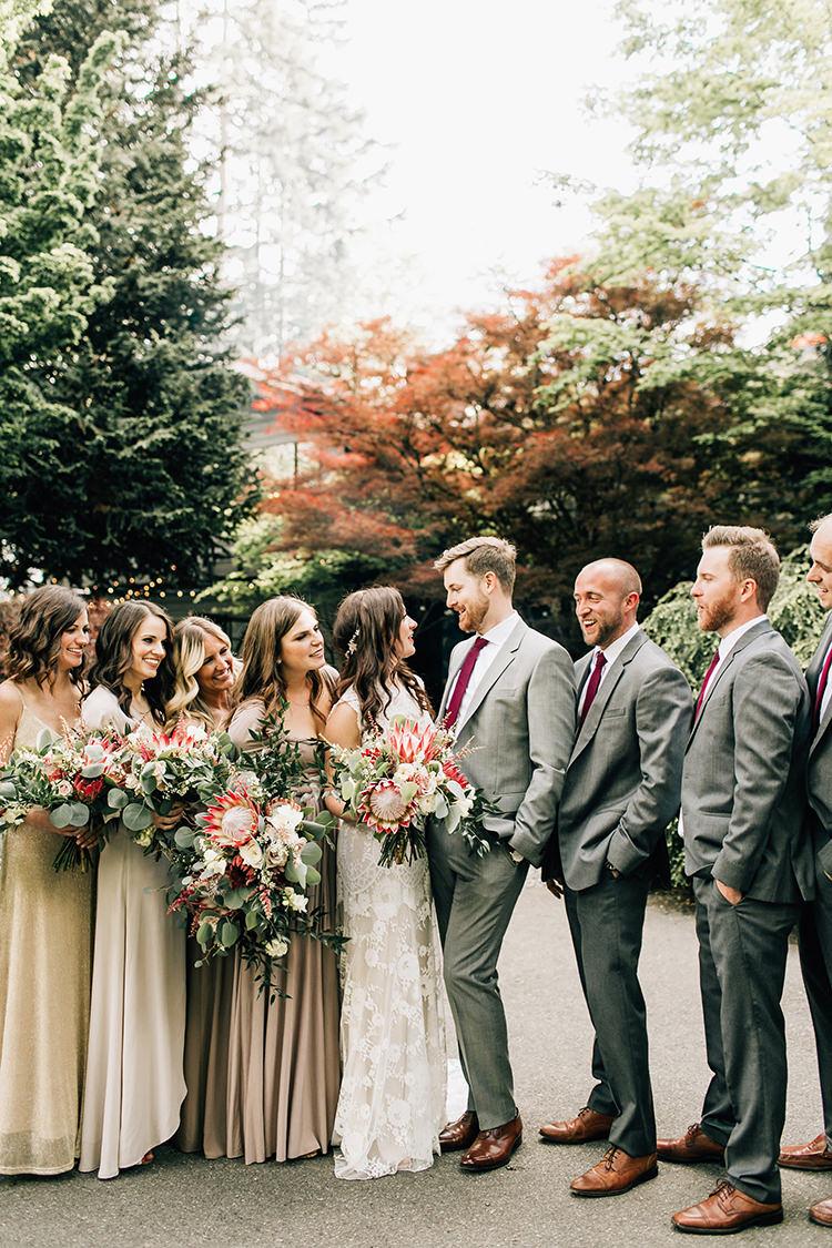 wedding party portraits - photo by Jenna Bechtholt Photography https://ruffledblog.com/boho-pacific-northwest-forest-wedding-with-king-protea