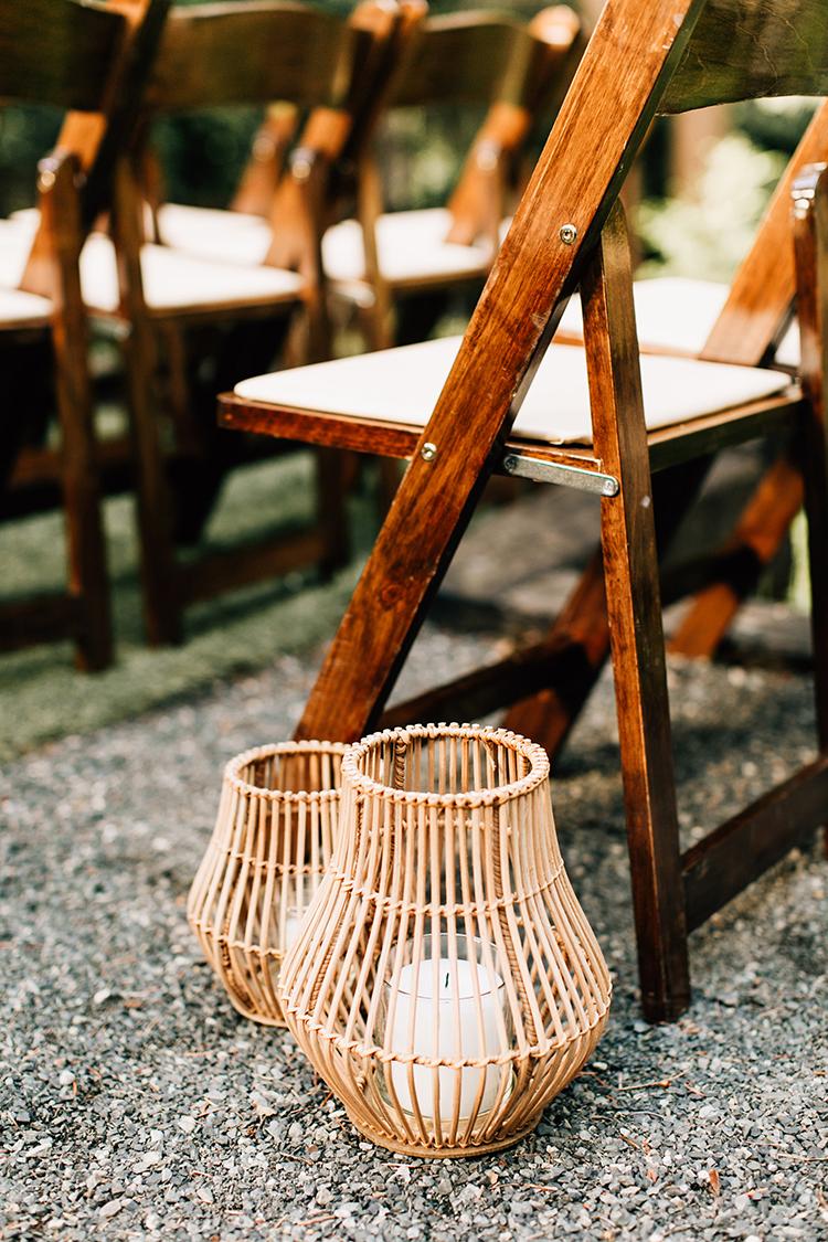 ceremony seating decor ideas - photo by Jenna Bechtholt Photography https://ruffledblog.com/boho-pacific-northwest-forest-wedding-with-king-protea