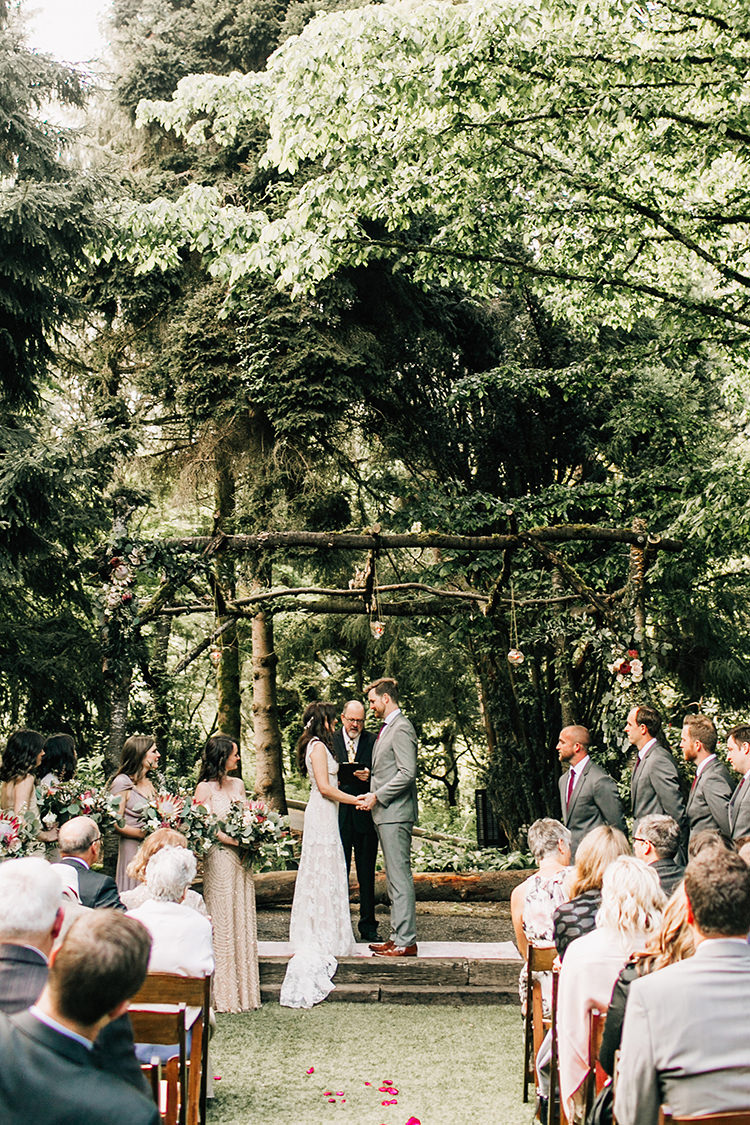 wedding ceremonies - photo by Jenna Bechtholt Photography http://ruffledblog.com/boho-pacific-northwest-forest-wedding-with-king-protea